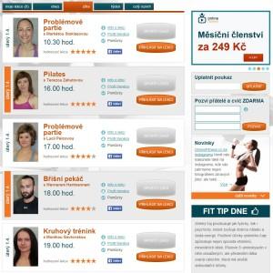 OnlineFitness.cz - přehled lekcí